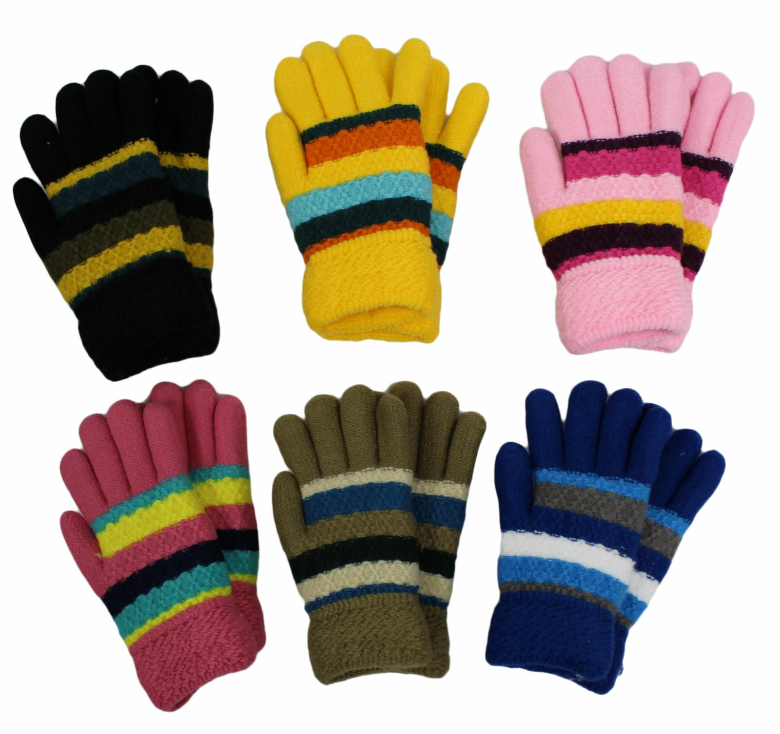 Gilbin's Kid's Solid Fur-Lined Knit Gloves (6-Pair Size 5-8)