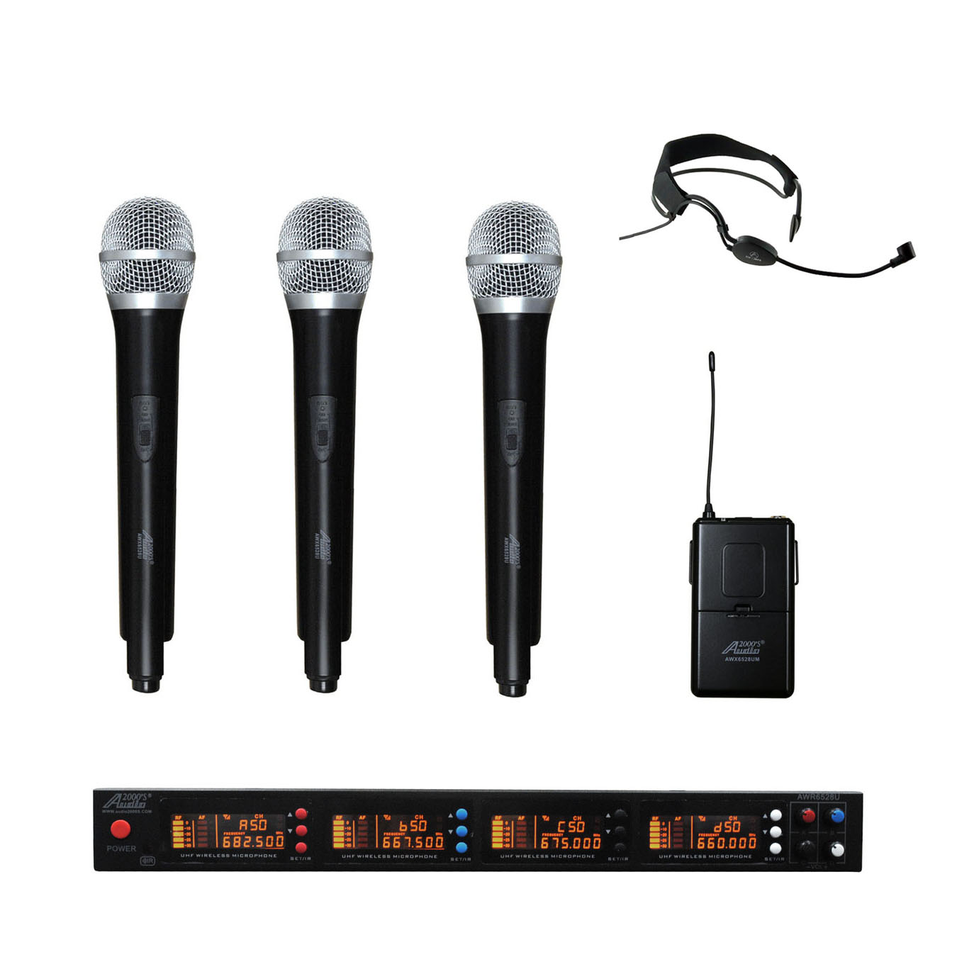 Click here to buy Audio2000s AWM6528H3HS UHF 4 Channel Wireless Microphone w 3 Handheld & 1 Headband Headset....