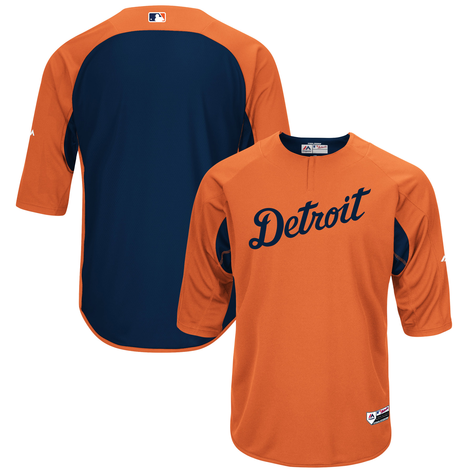 Detroit Tigers Majestic Authentic Collection On-Field 3/4-Sleeve Batting Practice Jersey - Orange/Navy