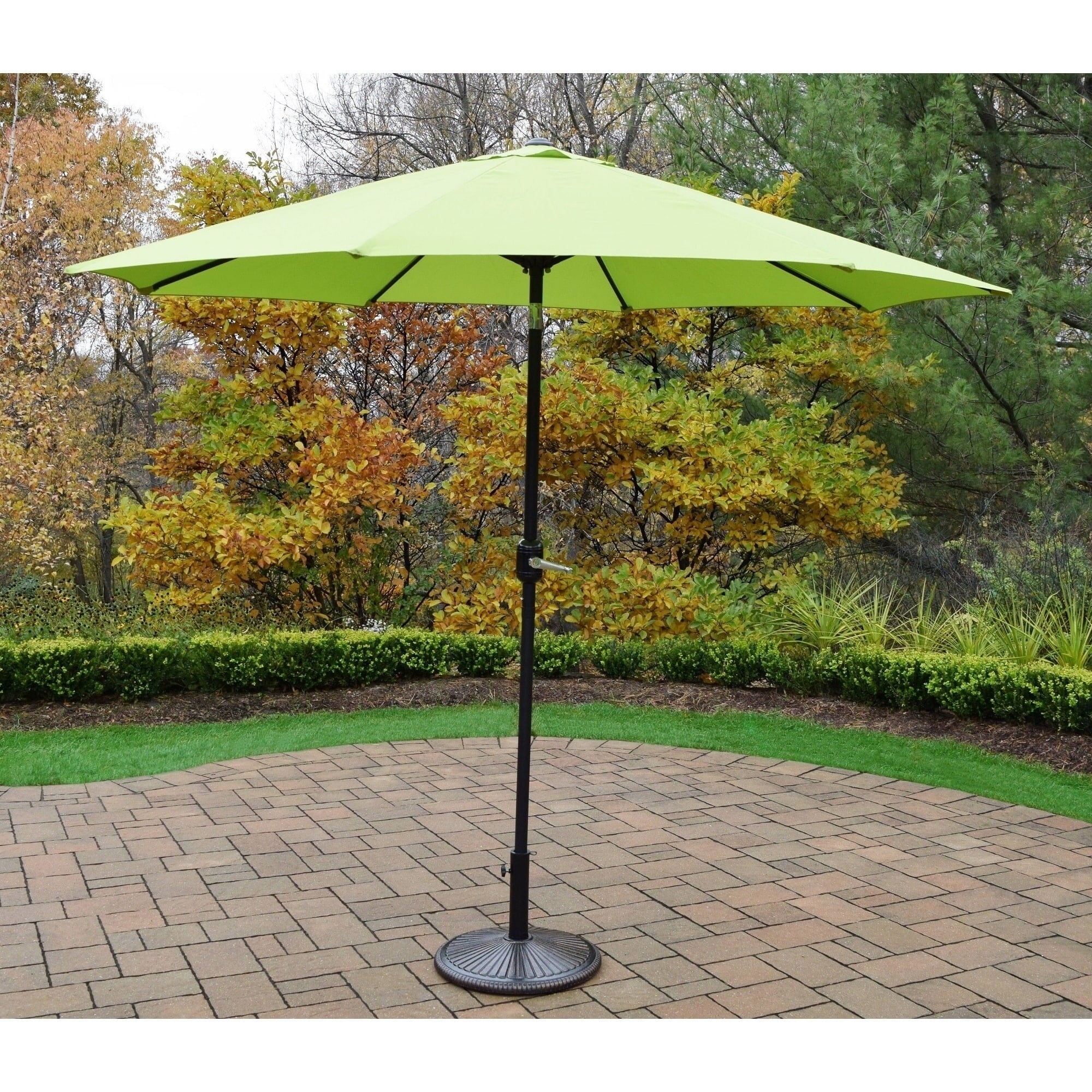 Oakland Living Corporation  9-foot Crank-and-tilt Umbrella with Cast-iron Stand
