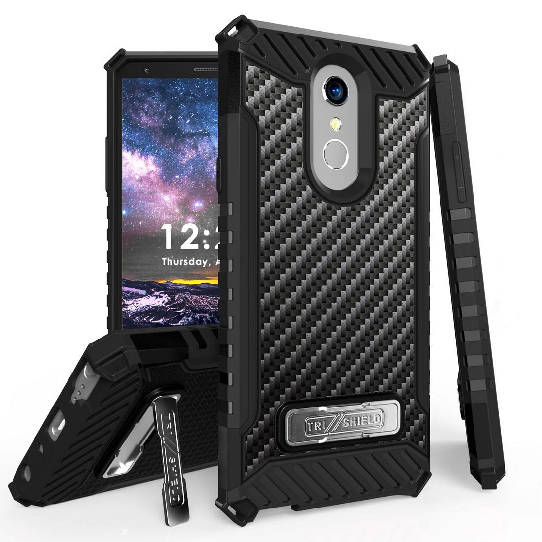 Beyond Cell Rugged Military Grade Drop Tested [MIL-STD 810G-516.6] Kickstand Cover Case and Atom Cloth for LG Stylo 4+ Plus/LG Stylo 4 (2018) - Carbon Fiber