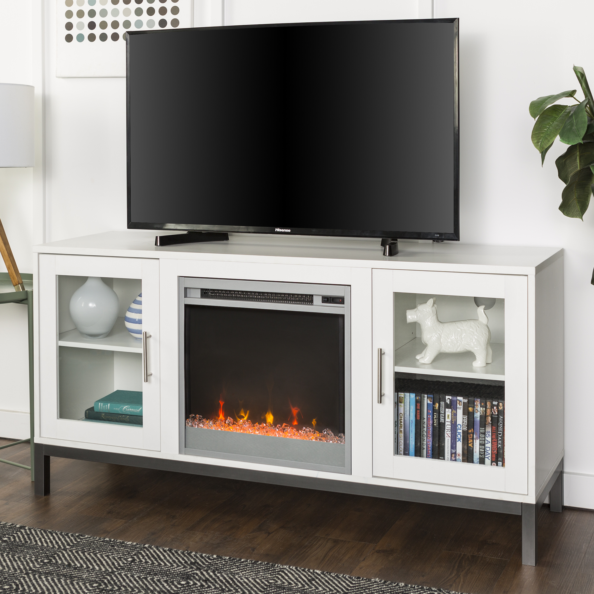 "52"" Modern Wood Fireplace Media TV Stand Storage Console Entertainment Center - White"