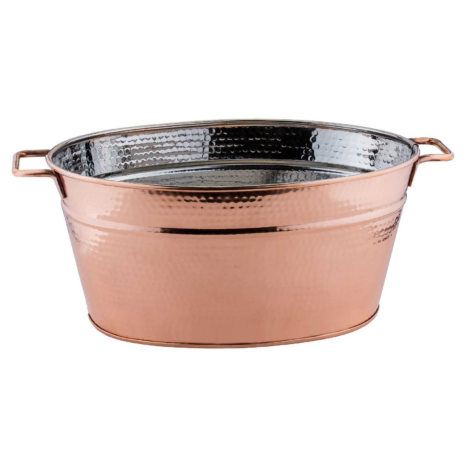 5¾ Gallon Hammered Copper Oval Beverage Tub