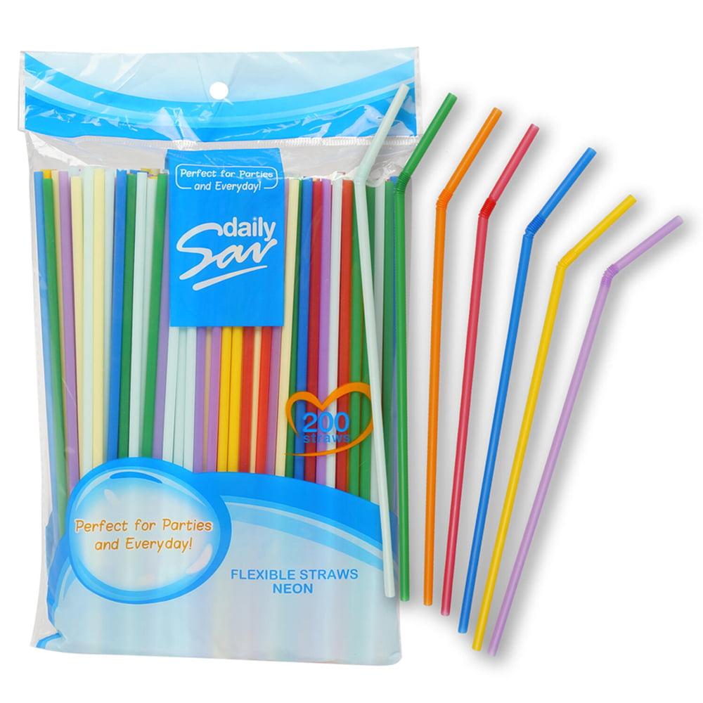 600 Pcs Colorful Party Straws Long Flexible Bendy Bar Drinking Supplies Plastic