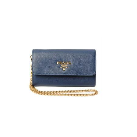 c224e9a59c5b Prada - Prada Women's Saffiano Leather Mini Wallet-On-Chain 1MC015 Blue -  Walmart.com