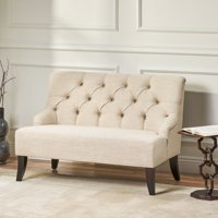 Nicoletta Contemporary Tufted Fabric Settee, Light Beige and Dark Brown