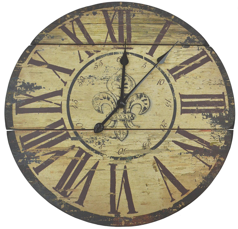 Lulu Decor, Fleur De Lis Wood Wall Clock, Rustic Round Clock 23.5� with Roman Numerals for... by Lulu Decor