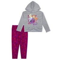 Disney Frozen 2 Anna & Elsa Toddler Girl Tie-Front Hoodie & Printed Leggings, 2pc Outfit Set