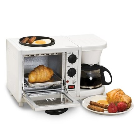 Elite Cuisine EBK-200 3-in-1 Breakfast Center Coffee Toaster Oven Griddle, White