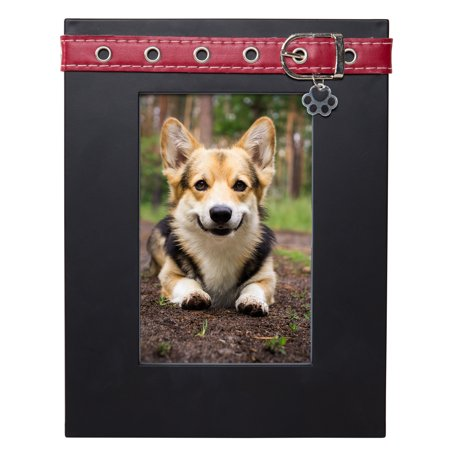 Mainstays Mainstays 4x6 Dog Picture Frame, Black with Red Collar and Puppy Paw Charm ()