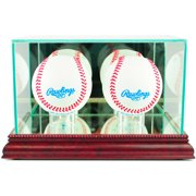 Perfect Cases Double Baseball Display Case, Cherry Finish