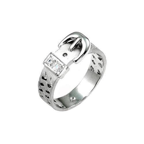Icon Bijoux R07650N-C01-10 Silvertone Buckle Ring (Size: 10)