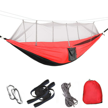 Lightahead Parachute Portable Camping Hammock(with Removable Mosquito Net) Including Straps, Carabiners & Rope– Heavy Duty Lightweight Best Nylon Parachute Hammock (Black/Red with Grey