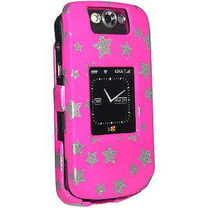 Premium Stars Pink Snap On Hard Shell Case for BlackBerry Pearl 8220
