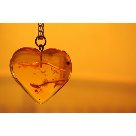 - LAMINATED POSTER Necklace Jewelry Pendant Amber Orange Heart Poster Print 24 x 36