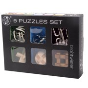 6Pcs IQ Brain Teaser Set Metal Puzzle Wooden Kong Ming Lock for Children Adults Intellectual Game