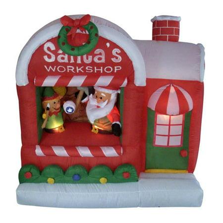 5' Inflatable Santa's Workshop Lighted Christmas Yard Art Decoration