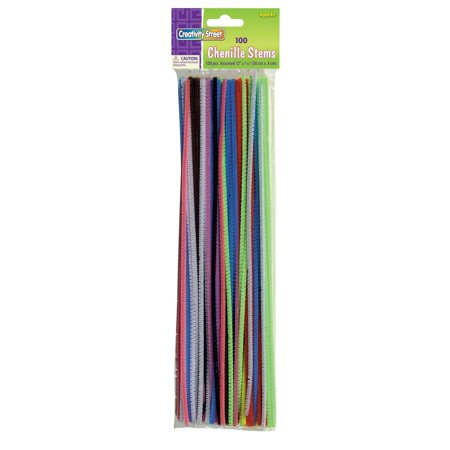 Chenille Stems/Pipe Cleaners 12 Inch x 4mm 100-Piece, Assorted Colors, Bendable and twistable wire