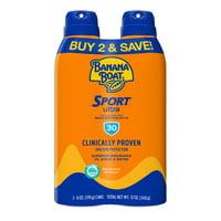 Banana Boat Ultra Sport Clear Sunscreen Spray SPF 30, 12 oz Twin Pack