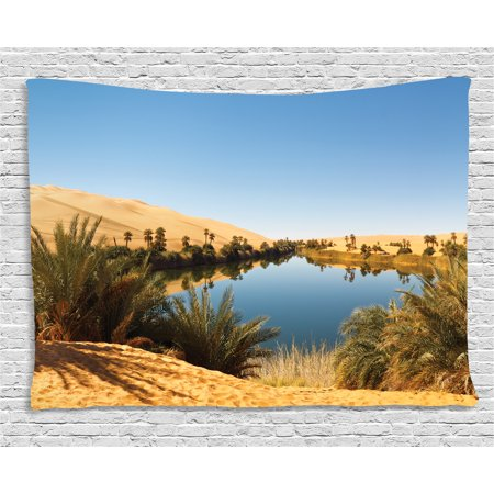 Desert Tapestry  Idyllic Oasis Awbari Sand Sea Sahara Libya Pond Lush Arid Country  Wall Hanging For Bedroom Living Room Dorm Decor  80W X 60L Inches  Pale Blue Green Sand Brown  By Ambesonne