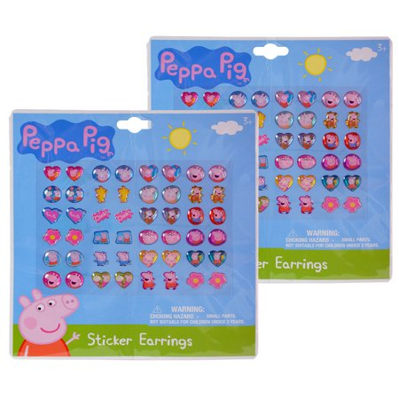 Novelty Character Beauty Accessories Peppa Pig Stick On Sticker Earrings - 48 Pair (96pc Set)