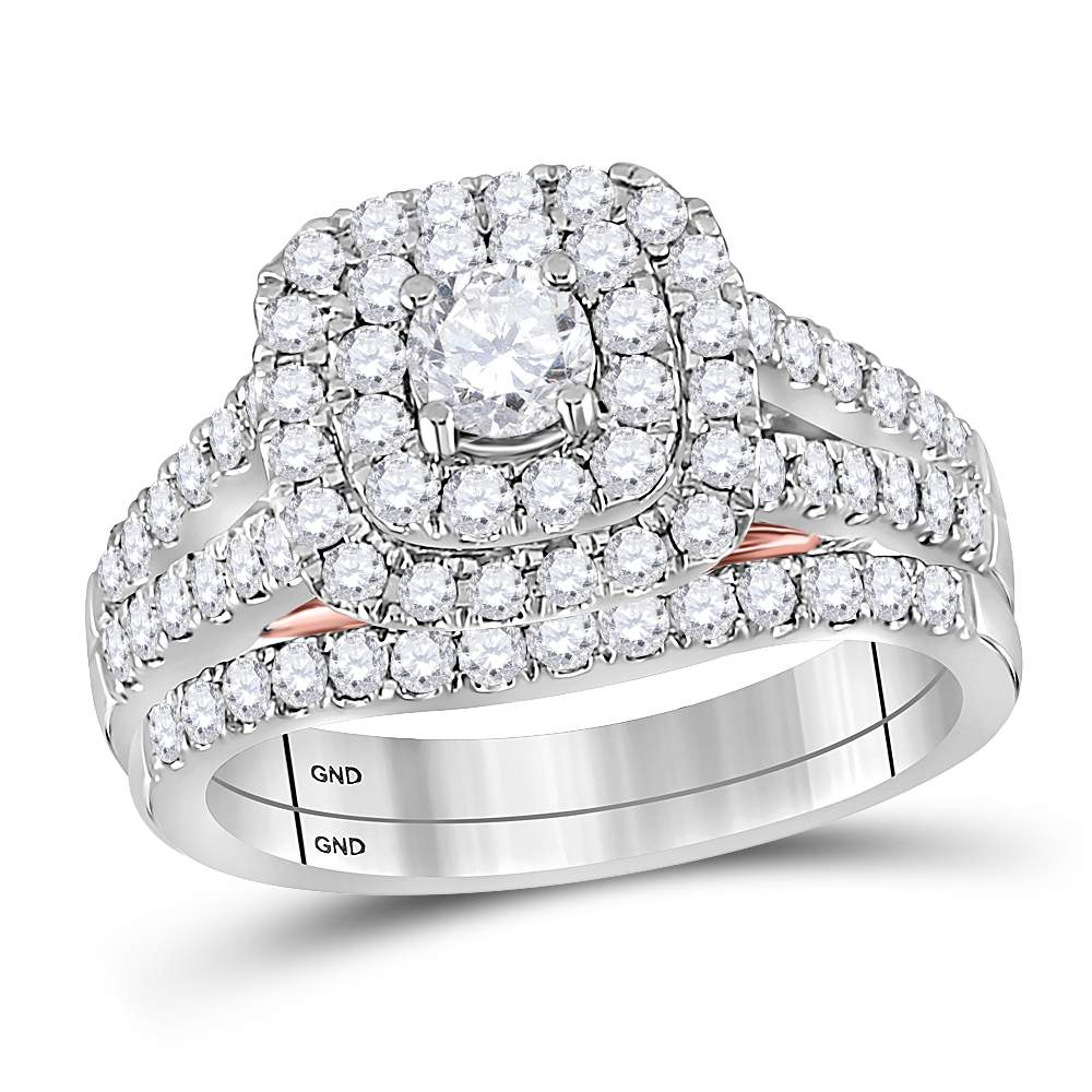 14kt White Gold Womens Round Diamond Bellissimo Double Square Halo Bridal Wedding Engagement Ring Band Set 1-1 4 Cttw by