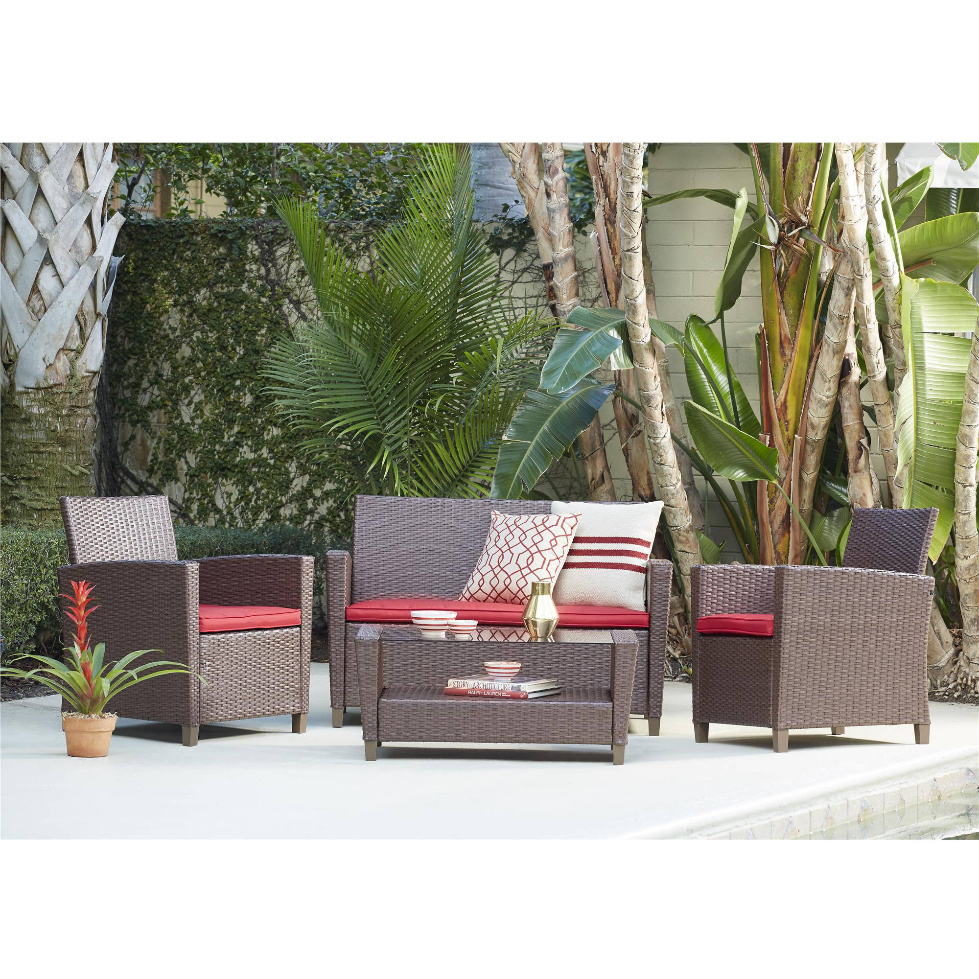 Cosco Outdoor Living Malmo 4-Piece Wicker Conversation Set, Brown by Cosco