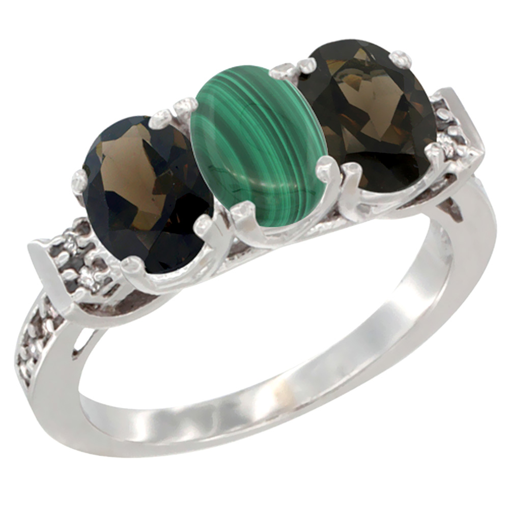 10K White Gold Natural Malachite & Smoky Topaz Sides Ring 3-Stone Oval 7x5 mm Diamond Accent, sizes 5 - 10