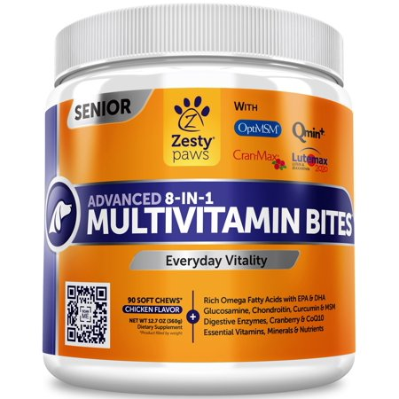 Zesty Paws Advanced Multivitamin for Senior Dogs with Glucosamine, Fish Oil & Digestive Enzymes, 90 Soft - Advanced Vitamin