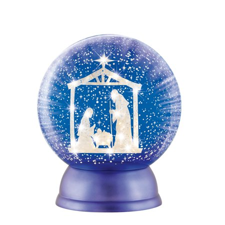 (Lighted Nativity Scene Snow Globe Tabletop Decoration, Blue and White Christmas Accent)