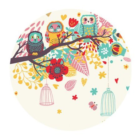POPCreation Owl Round Mouse pads Gaming Mouse Pad 7.87x7.87 inches ()