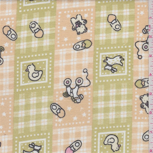 Beige/Avocado Baby Patchwork Print Flannel, Fabric By the Yard