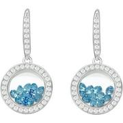 Floating Light Blue CZ Sterling Silver Designer Earrings