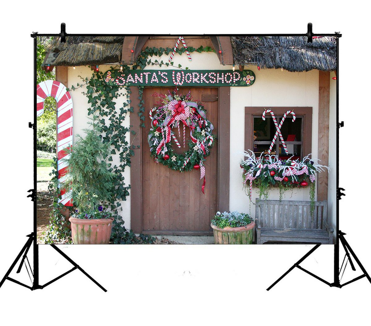 Gckg 7x5ft Merry Christmas Garland Santa S Workshop Front Door Rustic Candy Cane Polyester Photography Backdrop Photo Background Studio Props Walmart Canada
