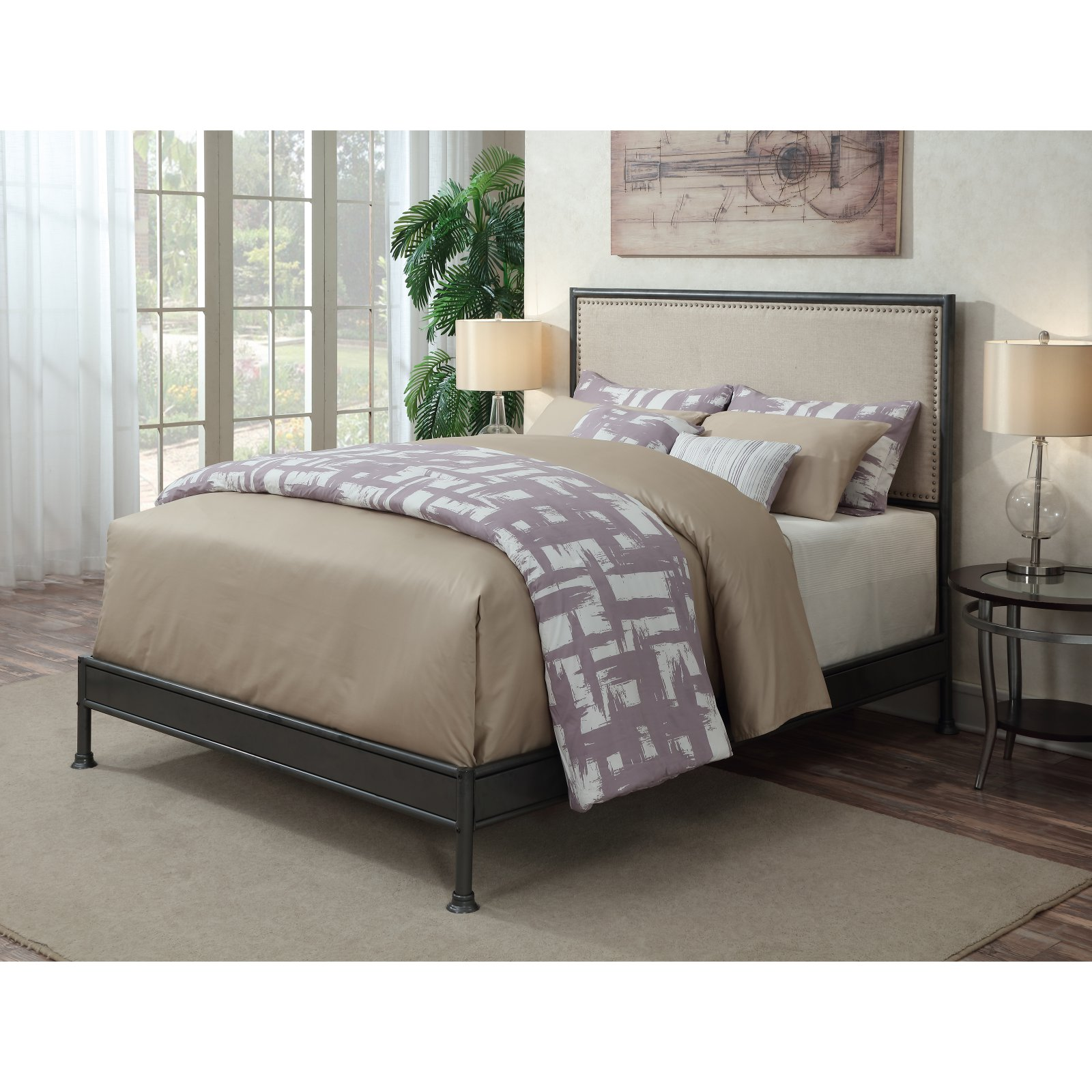 Right2Home Industrial Upholstered Panel Bed - Queen
