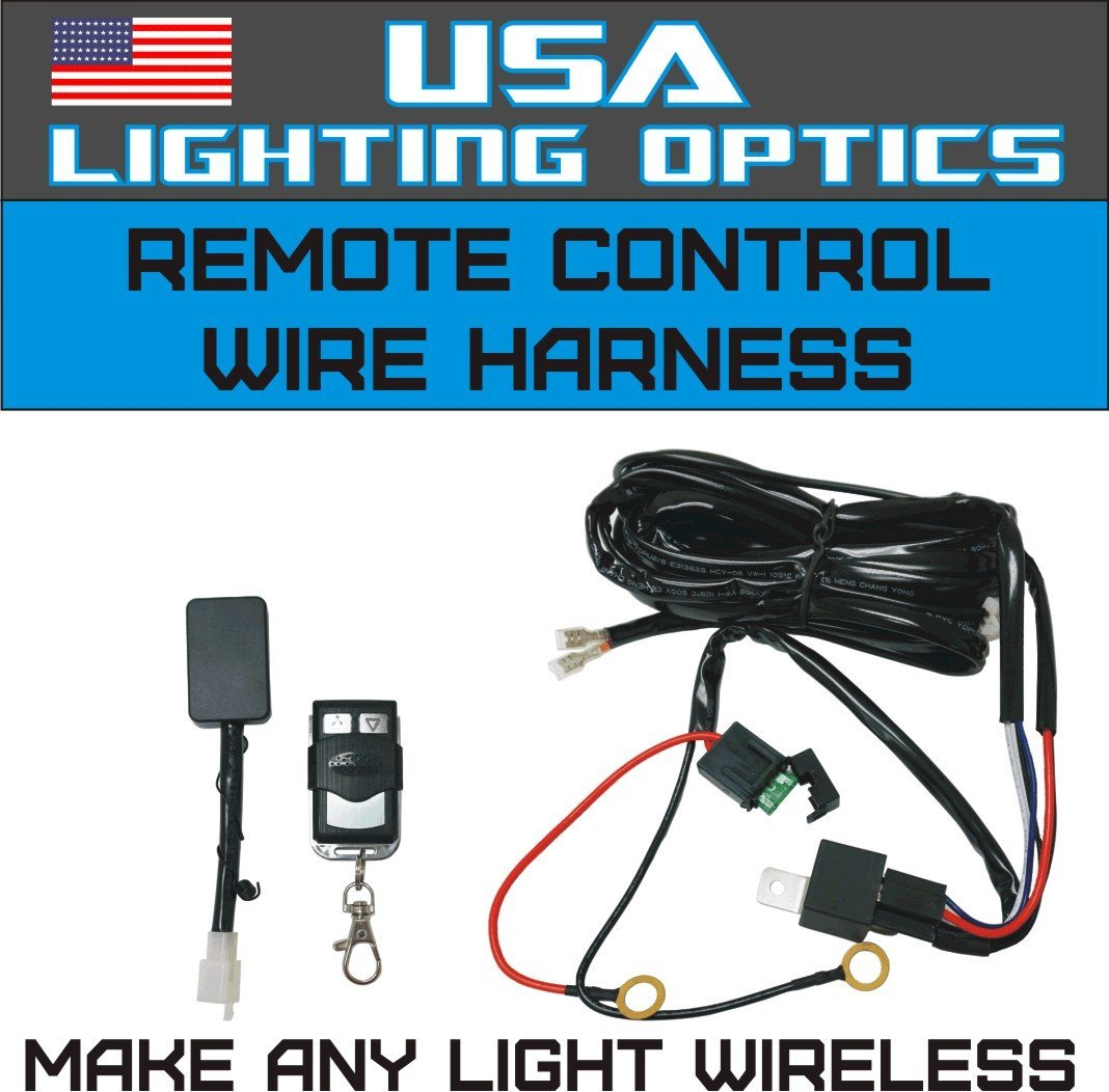 Wireless Remote Control Universal Wiring Harness Off Road ATV/UTV Jeep  Trucks LED Light Bar - 40 Amp Relay ON/OFF Switch, Wireless Remote.., By  USA Lighting ...