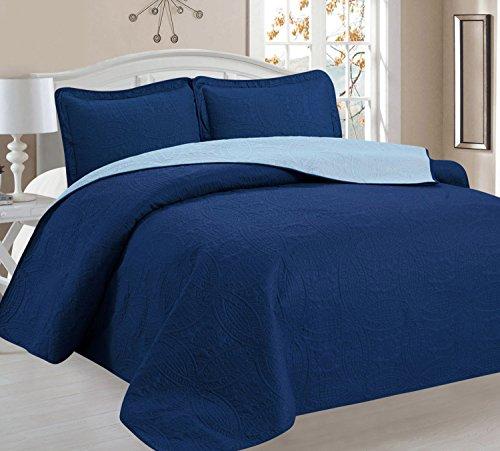 Home Sweet Home Victoria Design Reversible 3 PC Quilt Bedspread Sets (Full/Queen, Brown/Beige)