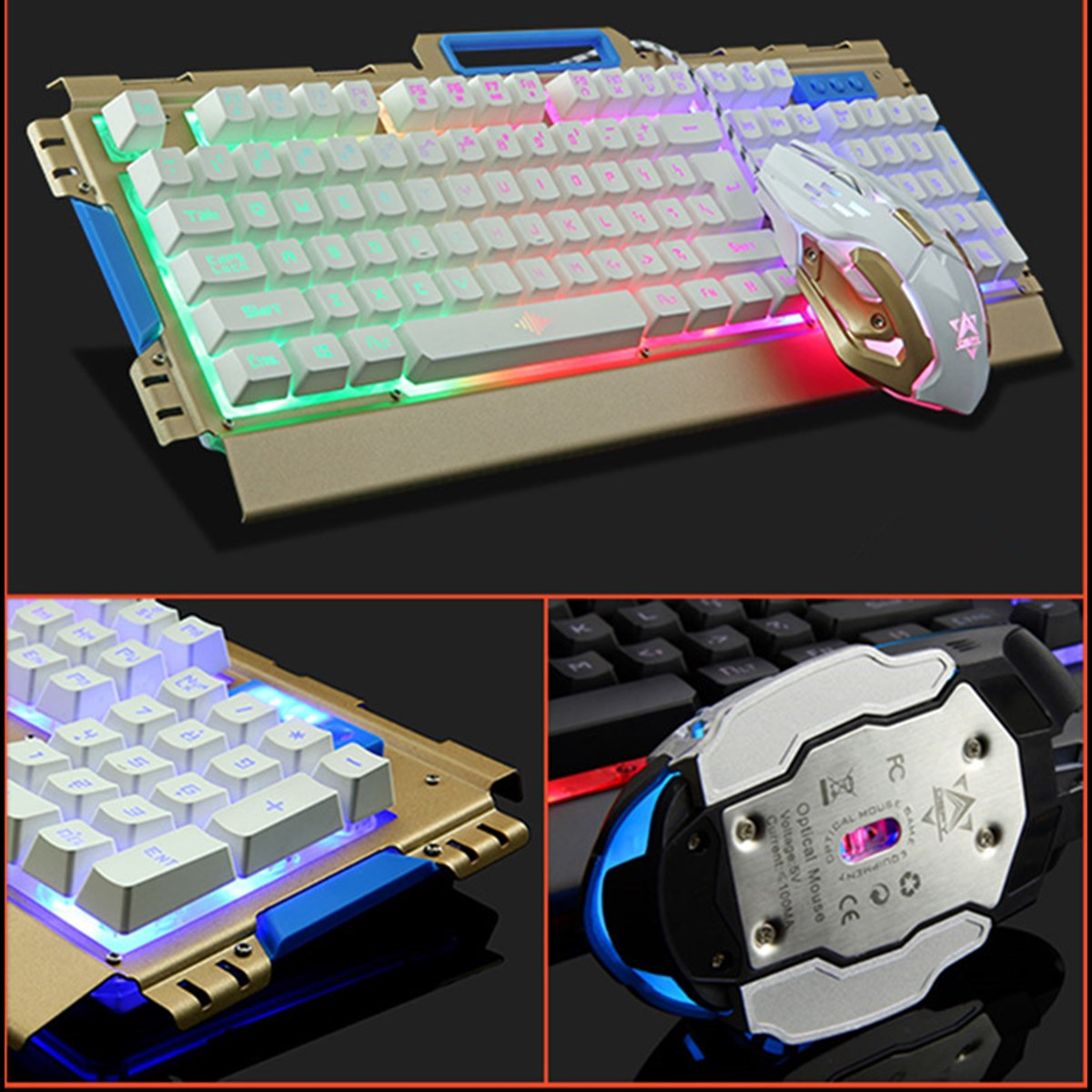 Panel Luminous Wired Gaming Mechanical Keyboard and Mouse Sets PC Gamer Aluminum