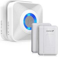 Fosmon 2Pack WaveLink Wireless Entry Alert Doorbell - 52 Ringtones with 2 Receiver and 2 Magnetic Door Sensor White