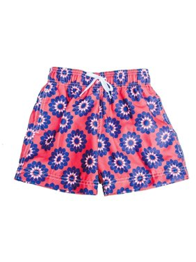 Azul Boys Red Blue Drawstring Waist Stylized Pinwheel Swim Shorts