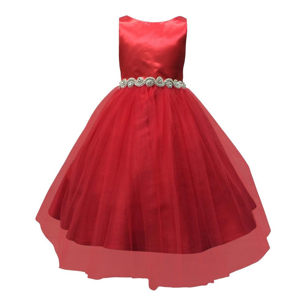 Little Girls Red Dull Satin Rhinestone Tulle Occasion Dress