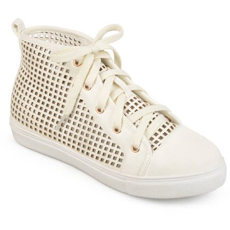 Womens Faux Leather High-top Lace-up Laser-cut Sneakers