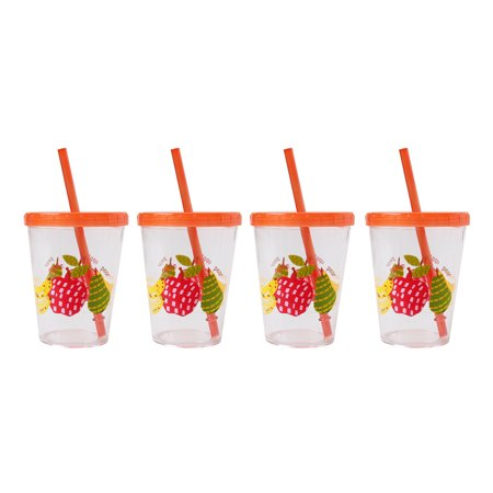 Mainstays Kids Tumbler with Straw and Lid, 4 Pack (Tumblers With Lids And Straws)