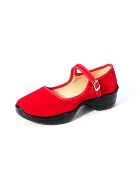 Womens Ladies Dance Chunky Ballet Balanced Heel Shoes Hotel Strap Buckle Shoes Size36-42/5-11 Red,Rose Red,Black,Blue