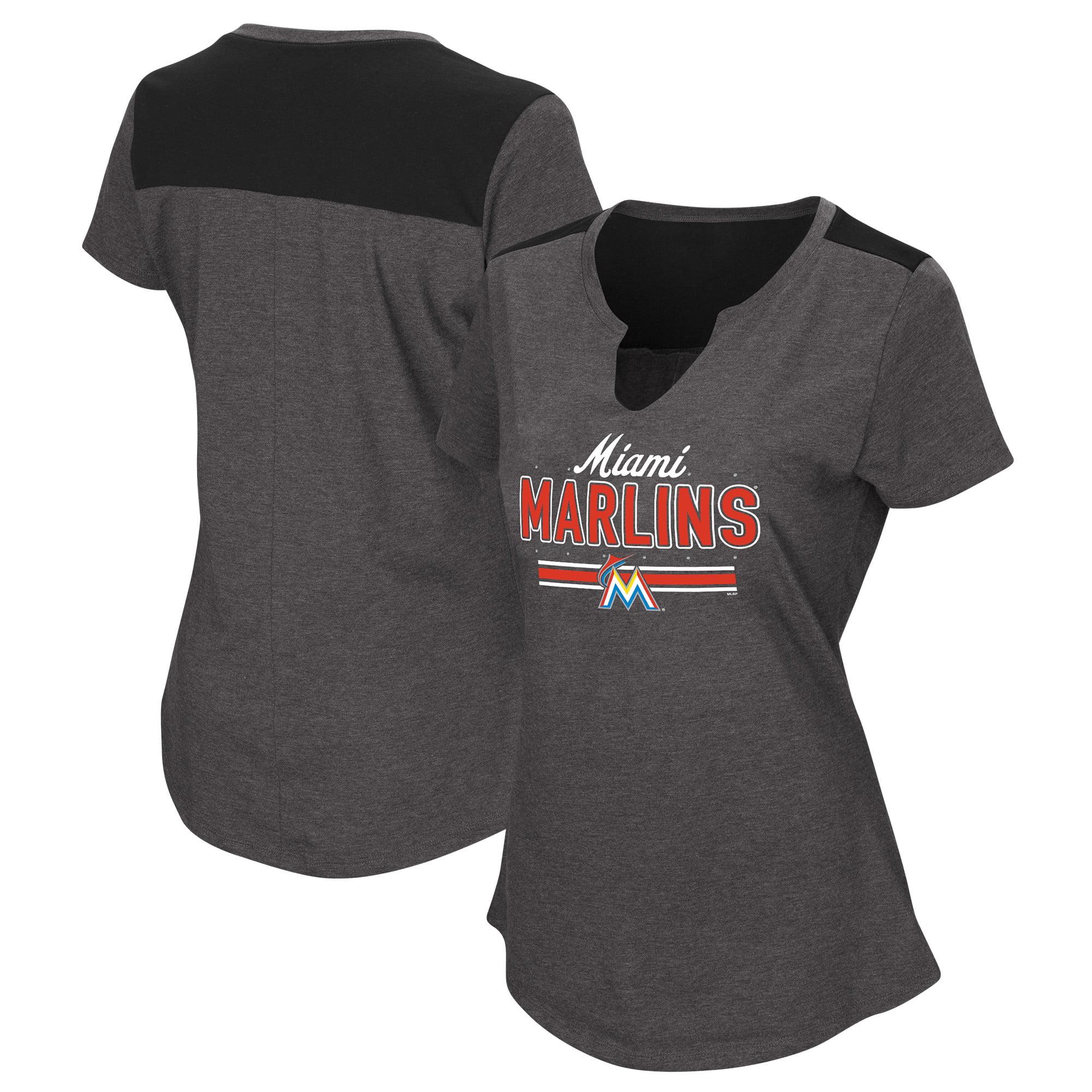 Women's Majestic Black Miami Marlins Plus Size Switch Hitter T-Shirt