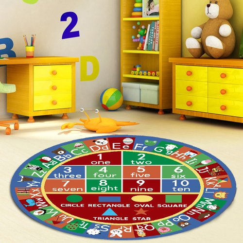 "Kids Abc Alphabet Numbers Educational Area Rug Non Skid 6'6"" Round"