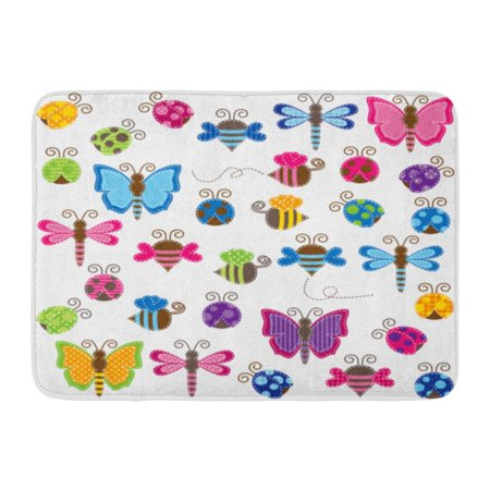 KDAGR Colorful Large Collection of Patchwork and Baby Bugs Fly Girl Doormat Floor Rug Bath Mat 23.6x15.7 inch Bug Rug Baby