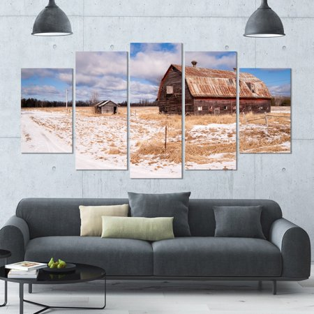 DESIGN ART Designart 'Farm Field Barn Ranch' Landscape Wall Artwork - 60x32 5 Panels - - Spring Barn Farm Halloween