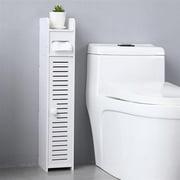Small Bathroom Storage Corner Floor Cabinet with Doors and Shelves, Thin Toilet Vanity Cabinet, Narrow Bath Sink Organizer, Towel Storage Shelf for Paper Holder