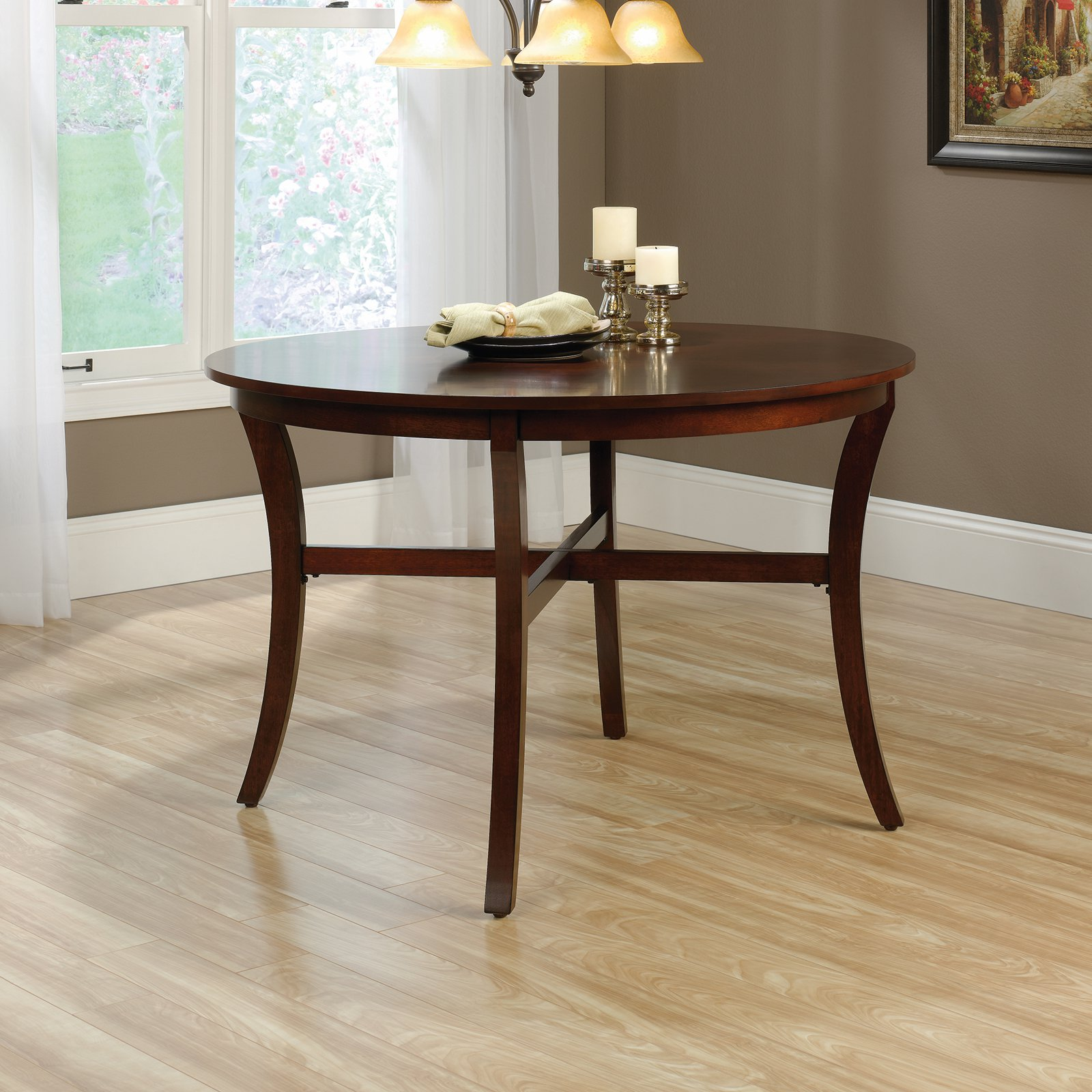 Sauder Palladia Round Dinette Table, Select Cherry Finish